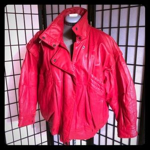 Vintage red leather CD Milano jacket